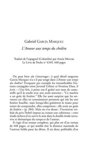 Calam o fiche p dagogique l 39 amour aux temps du chol ra gabriel garcia marquez for Fenetre en espagnol