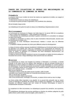 Charte des collections du réseau des médiathèques de la CC Weppes