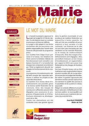 Mairie contact n°15 - Mars 2012