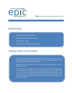 WEEKLY FOREX REPORT BY EPIC RESEARCH-09 APRIL 2012