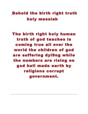birth right holy human messiah