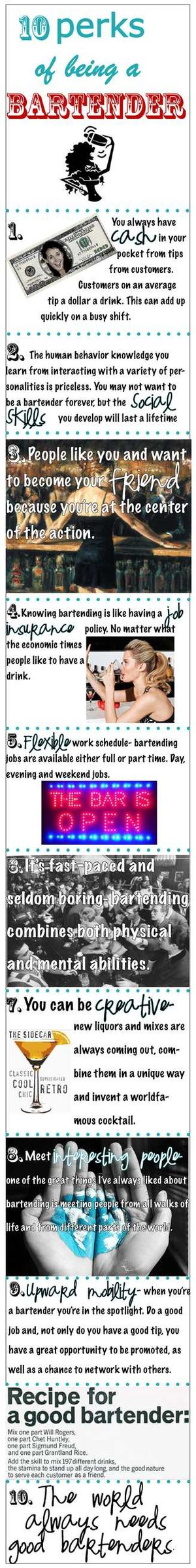10 Perks of Being a Bartender Infographic