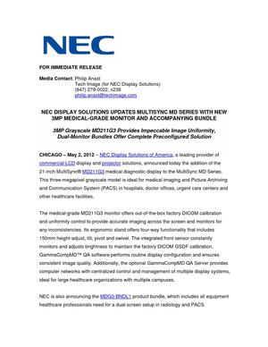 NEC DISPLAY SOLUTIONS UPDATES MULTISYNC MD SERIES WITH NEW 3MP MEDICAL-GRADE MONITOR AND ACCOMPANYING BUNDLE