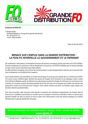 CARREFOUR : FO interpelle le gouvernement (FGTA 24/05/2012)