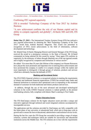 ITS is awarded 'Technology Company of the Year 2012' by Arabian Business