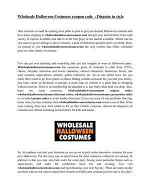 Calaméo - Wholesale Halloween Costumes coupon code