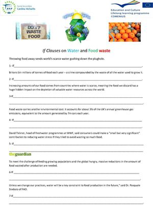 Calaméo - If Clauses on Water and Food waste - Worksheet