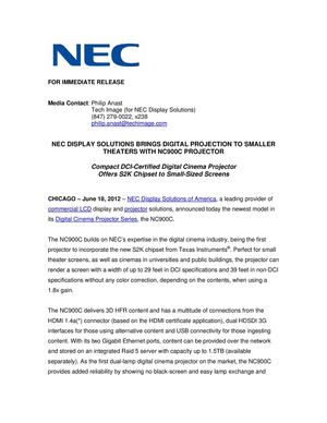 NEC DISPLAY SOLUTIONS BRINGS DIGITAL PROJECTION TO SMALLER THEATERS WITH NC900C PROJECTOR