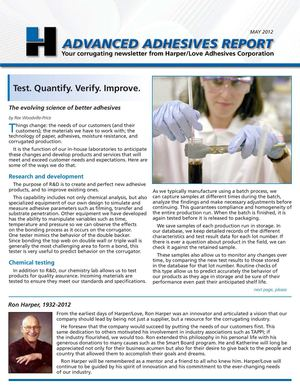 Harper Love Adhesives - Newsletter May 2012
