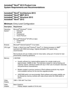 Requisitos de Sistema para REVIT 2013