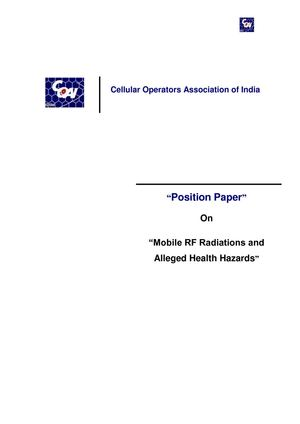 Cellular Operators Association of India -position paper on health hazards of cell tower radiation