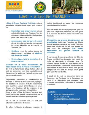 Fiche Pro label Gîtes de France 2011