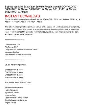 bobcat 435 service manual pdf