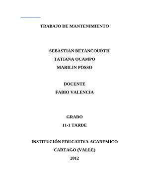 TRABAJO DE MANTENIMIENTO MANUAL