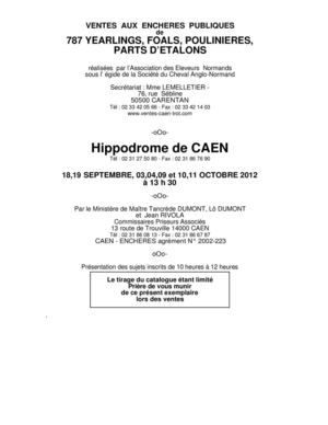 calam o catalogue des ventes de trotteurs de caen 2012. Black Bedroom Furniture Sets. Home Design Ideas