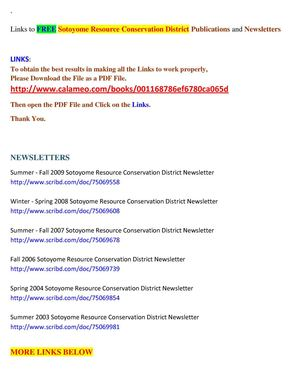 Links to FREE Sotoyome Resource Conservation District Publications, Newsletters and Much More