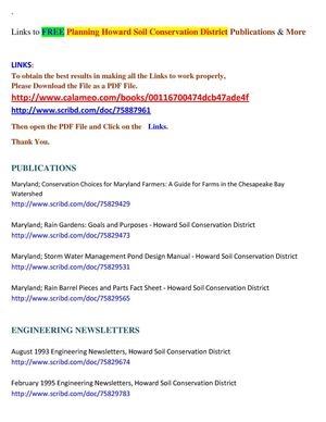 Links to FREE Planning Howard Soil Conservation District Publications & More