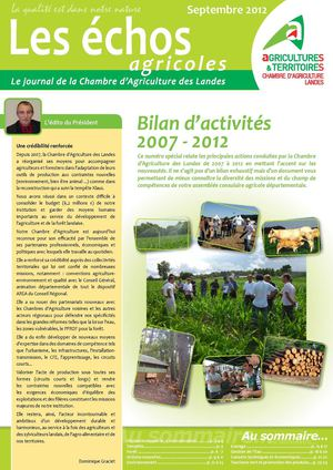 Calam o bilan d 39 activit s 2007 2012 de la chambre d 39 agriculture des landes - Chambre agriculture des landes ...