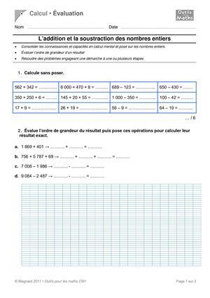 Calam o evaluation maths addition soustraction mardi for Evaluation cm1 tables de multiplication