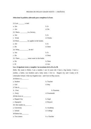 examen de ubicacion de ingles pdf