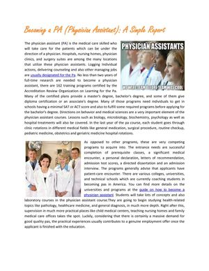A Detailed Report Becoming a Physician Assistant