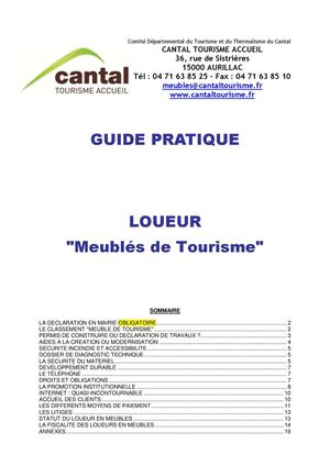Calam o bible du logeur cantal tourisme - Declaration en mairie des meubles de tourisme ...