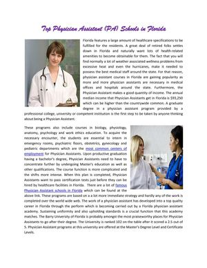 A Closer Look An introduction to Physician Assistant Career