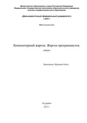 Реферат на тему Компьютерный жаргон Реферат на тему Компьютерный жаргон