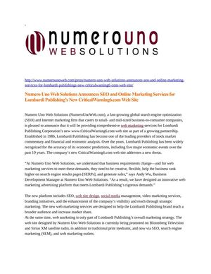 Numero Uno Web Solutions Announces SEO and Online Marketing Services