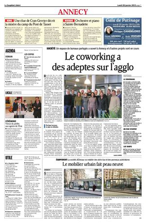 Le co working à Annecy : Article du Dauphiné Libéré