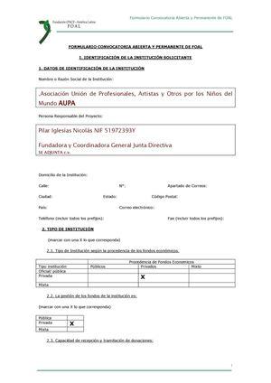 documento para presentar en fundación ONCE
