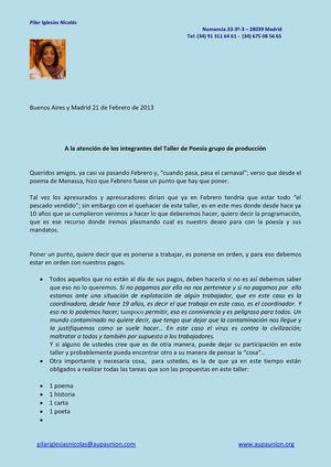 CARTA A INTEGRANTES TALLER POESÍA GRUPO PRODUCCIÓN