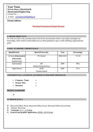 calam 233 o resume format for freshers