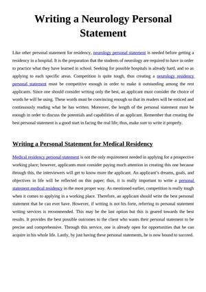 writing a personal statement for residency application Make a statement with your personal director of the low-residency creative writing mfa program at oregon weight in an application, the personal statement can.