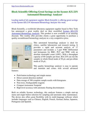 Calaméo - Block Scientific Offering Great Savings on the Sysmex KX ...Block Scientific Offering Great Savings on the Sysmex KX-21N Automated  Hematology Analyzer
