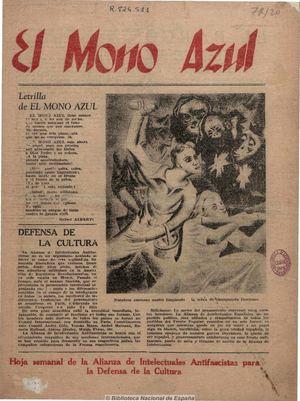 HOJA DE DIARIO EL MONO AZUL LIGA ANTIFASCISTA