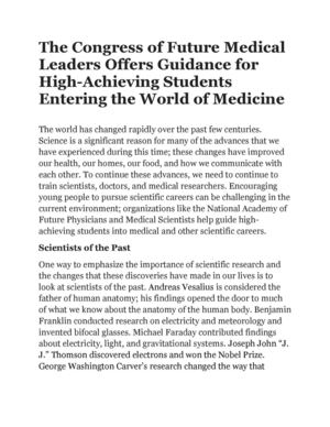 The Congress of Future Medical Leaders Offers Guidance for High-Achieving Students Entering the World of Medicine