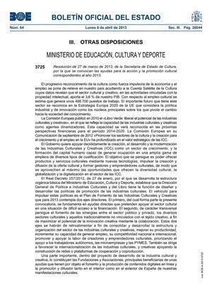 BOLETÍN OFICIAL DEL ESTADO CONVOCATORIA SUBVENCIÓN 2013