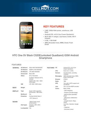 HTC One SV Black C520E(unlocked Quadband) GSM Android Smartphone
