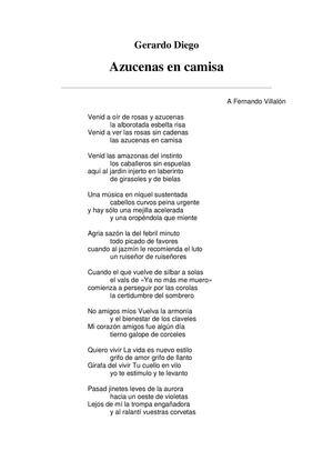 GERARDO DIEGO POEMAS SELECCIÓN