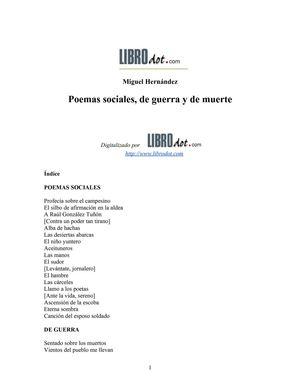 Hernandez Miguel - Poemas Sociales De Guerra Y De Muerte [doc]