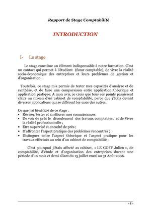 Rapport de stage comptabilité tunisie pdf