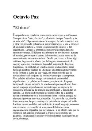 EL RITMO. Octavio Paz
