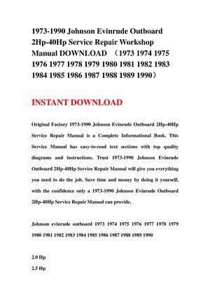calaméo 1973 1990 johnson evinrude outboard 2hp 40hp service 1973 1990 johnson evinrude outboard 2hp 40hp service repair workshop manual (1973