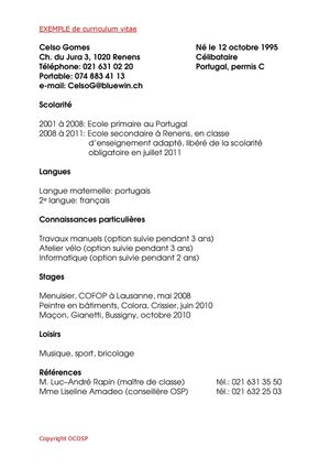 Calam o exemple de cv for Chambre commerciale 13 octobre 1992