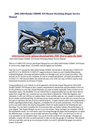 honda 919 service manual pdf