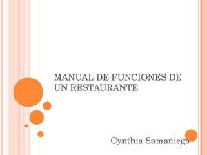 calam o manual de funciones de un restaurante