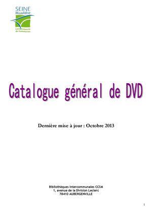 Catalogue général de dvd