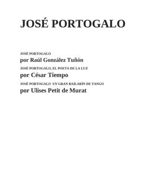 JOSE PORTOGALO seleccion poemas y escritos de RAUL GONZALEZ TUÑON Y OTROS SOBRE PORTOGALO