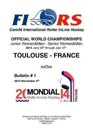 2014 FIRS InLine Hockey WORLD CHAMPIONSHIPS - Bulletin # 1 - November 4th